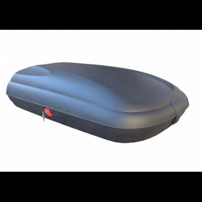 Cutie de transport cu aspect de fibra carbon 320L volum, Neagra, 131x77x34
