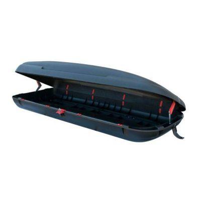 Cutie de transport cu aspect de fibra carbon 480L volum, Neagra, 198x79x37