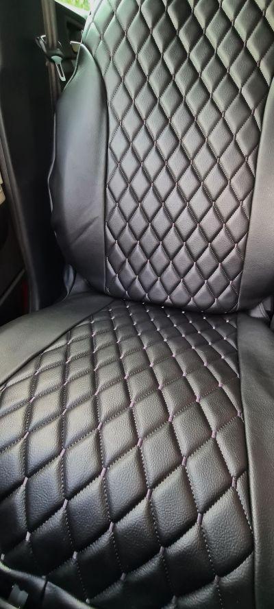 Duster II (2018-2021) - Huse de scaun Stil Luxos- piele neagra