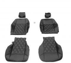 Duster II (2018-2021) - Huse de scaun DELUXE Piele Neagra -compatibile cu cotiera laterala